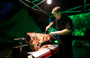 Carving a Hertfordshire Hog Roast